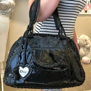 Dior Patent Black & Canvas Tied Black Shoulder Bag
